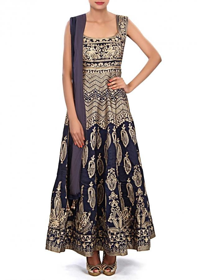 Navy blue anarkali suit embellished in zari embroidery only on Kalki