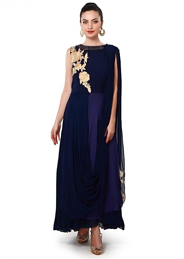 Navy blue anarkali suit enhanced in attached dupatta only on Kalki