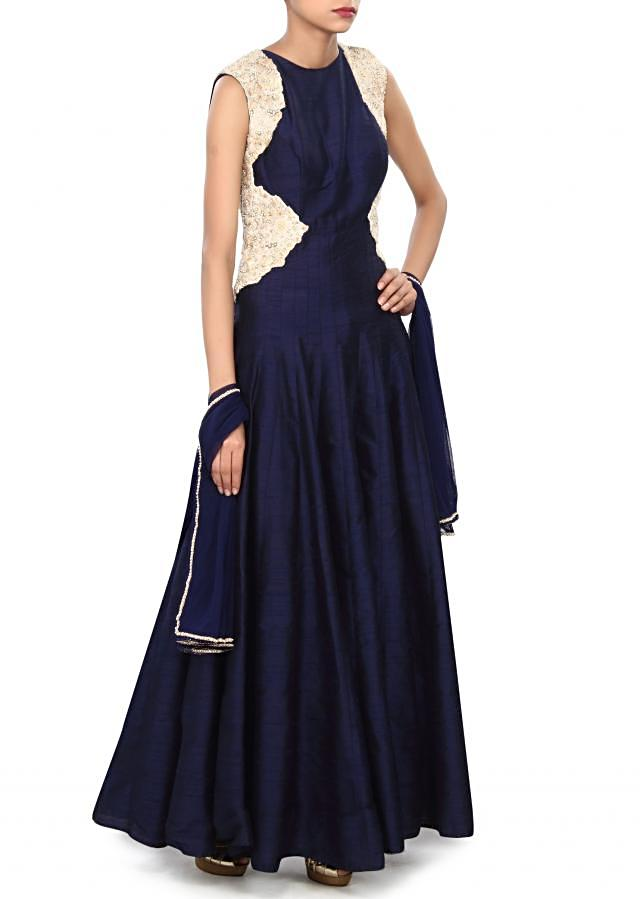Navy blue anarkali suit enhanced in thread embroidery only on Kalki