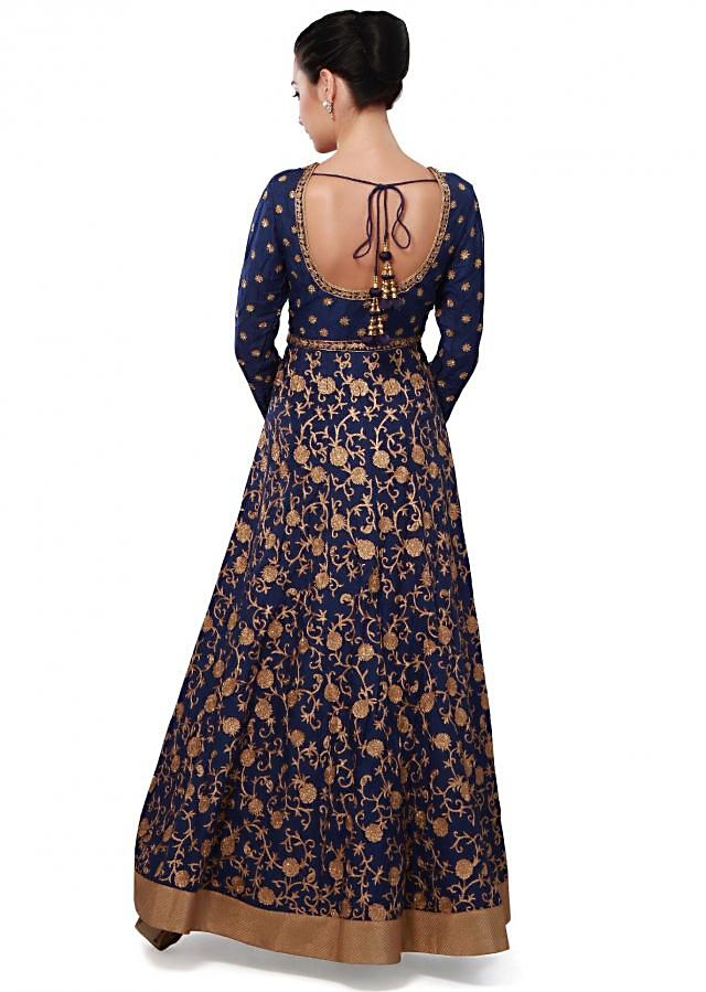 Navy blue anarkali suit features with aari embroidery only on Kalki