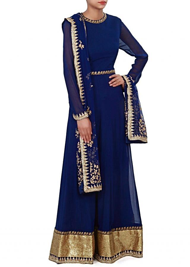 Navy blue anarkali suit features with embroidered dupatta. only on Kalki