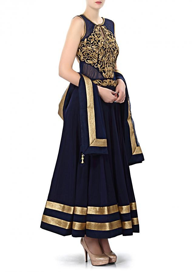 Navy blue anarkali suit features with zardosi embroidery only on Kalki