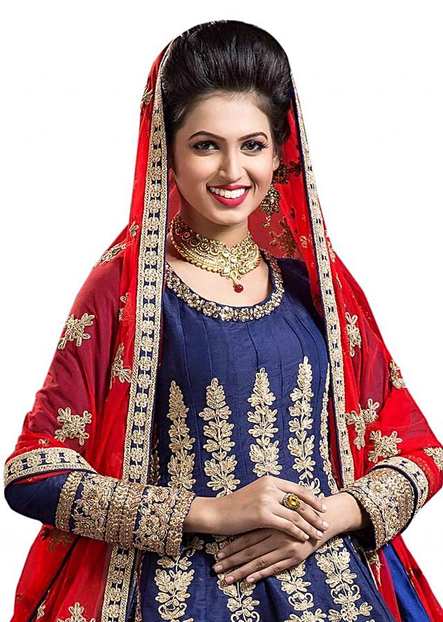 Navy blue anarkali suit in zari and sequin embroidery