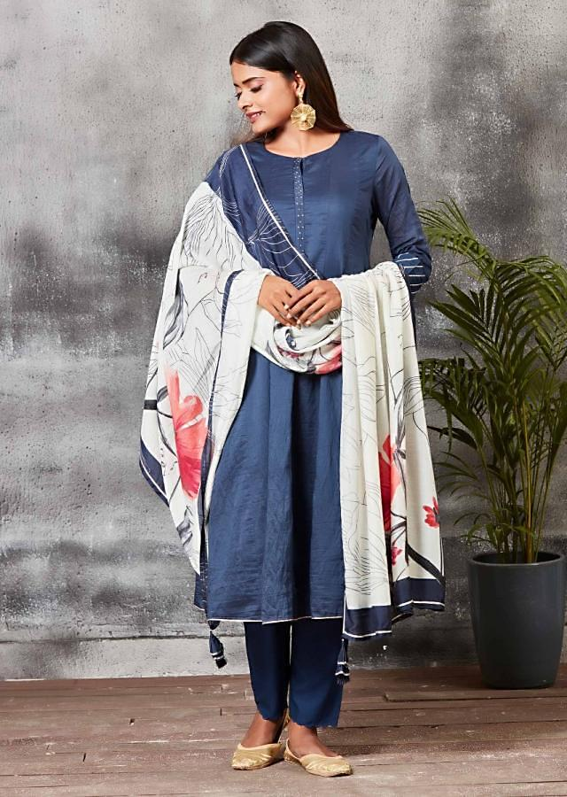 Navy Blue Anarkali Suit With Cigarette Pants And Floral Printed Dupatta Online - Kalki Fashion