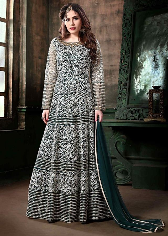 Navy Blue Anarkali Suit With Thread Embroidered Jaal Work All Over Online - Kalki Fashion
