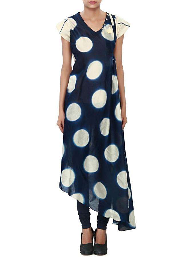 Navy blue and cream suit featuring in silk with polka dots print only on kalki