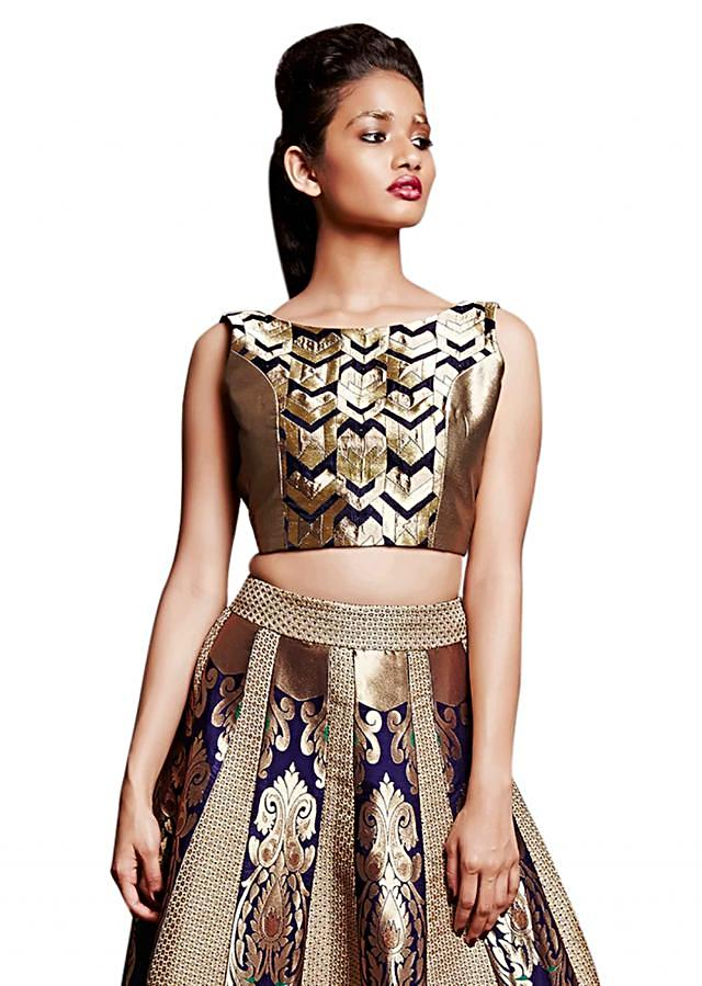 Navy blue and gold crop top and skirt in brocade silk only on Kalki