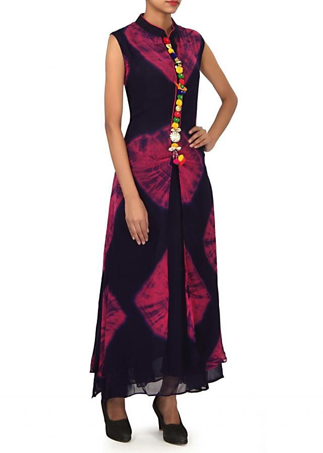 Navy blue and pink kurti features with fancy placket only on Kalki