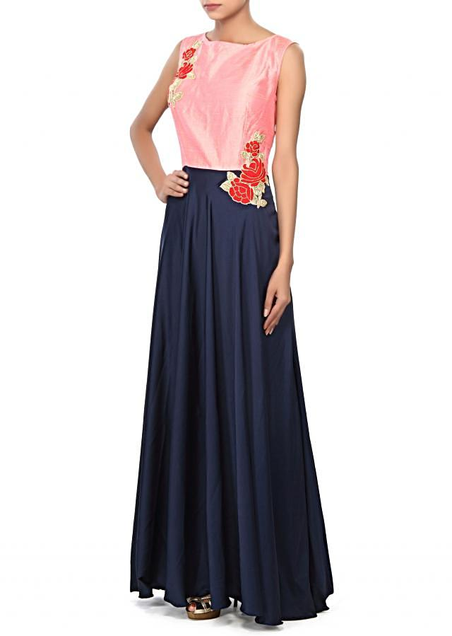 Navy blue and pink suit embroidered in embroidered butti only on Kalki