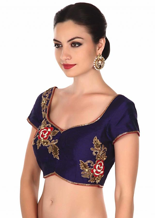Navy blue blouse adorn in rose motif embroidery only on Kalki