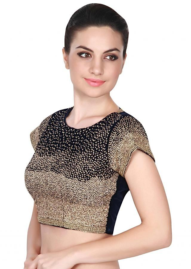 Navy blue blouse adorn in sequin embroidery only on Kalki