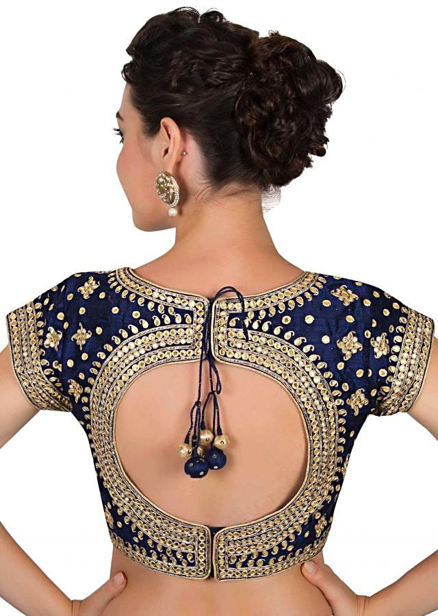 Navy blue blouse in gotta patch embroidered blouse only on Kalki