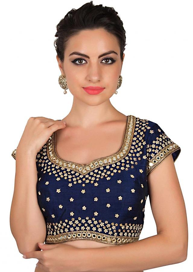 Navy blue blouse in kundan and mirror work only on Kalki