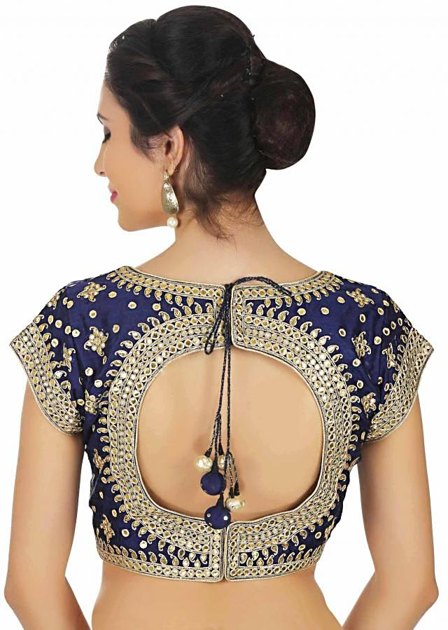 Navy blue blouse in raw silk in paisley motif embroidery only on Kalki