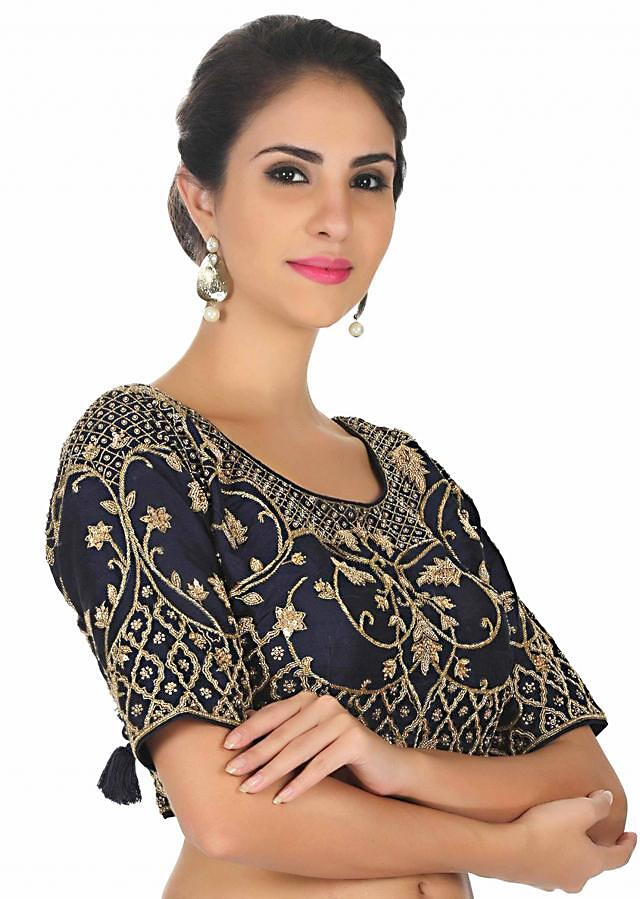 Navy blue blouse in silk with cut dana and sequin embroidery only on Kalki