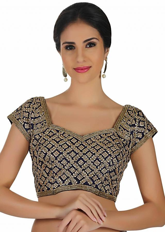 Navy blue blouse in silk with kundan and zardosi embroidery only on Kalki