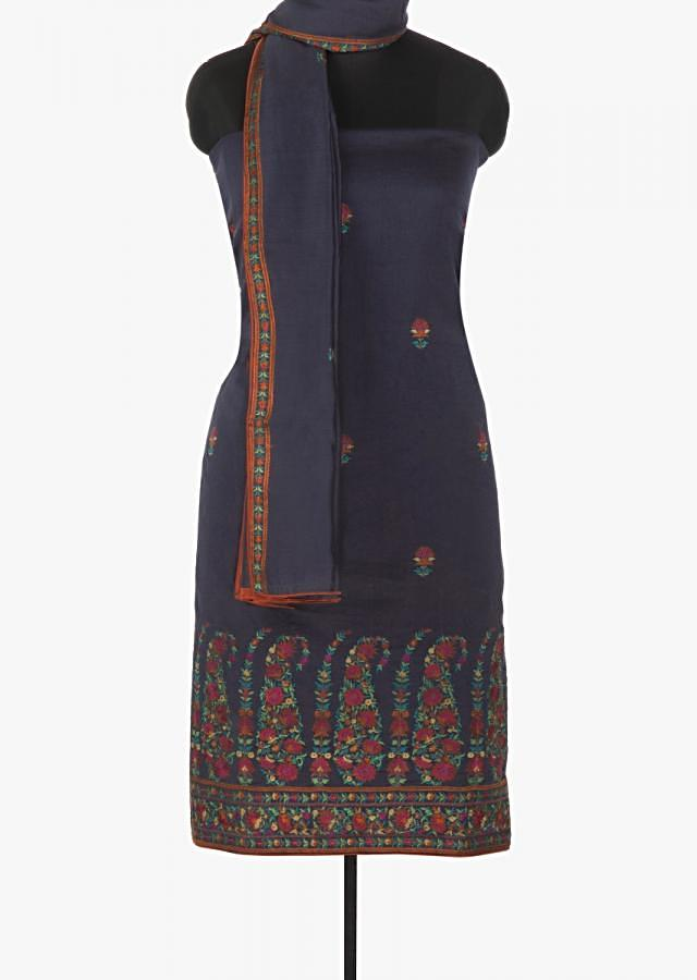 Navy blue chiffon unstitched suit embossed in resham in paisley motif only on Kalki