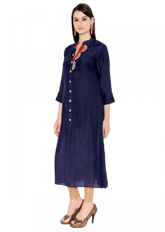 Navy Blue Cotton Kurti With Button Placket And Thread Embroidery On The Neckline Only On Kalki