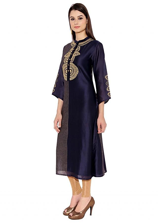 Navy Blue Cotton Kurti With Half And Half Pattern And Close Set Checks Pattern On One Half Only On Kalki