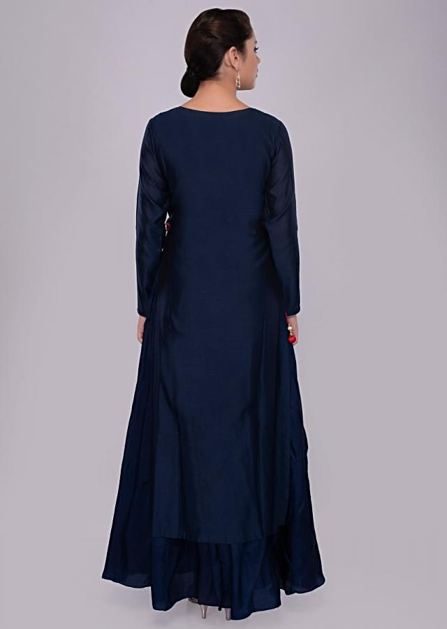 Navy Blue Suit Cotton Silk With Floral Embroidered Top Layer Online - Kalki Fashion
