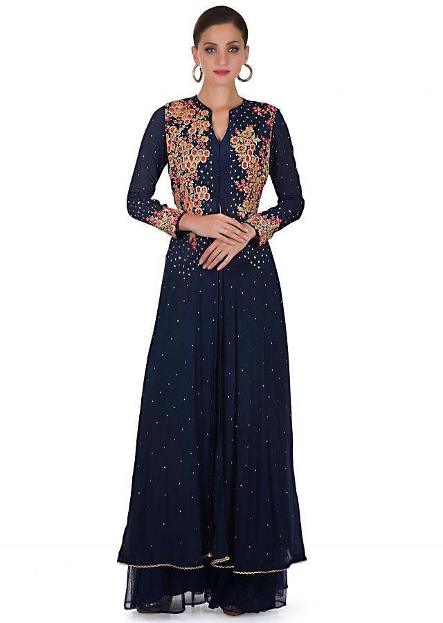 Navy Blue Cotton Silk Top Crafted with Resham Floral Motifs, Sequins, Net Dupatta and Palazzos only on Kalki