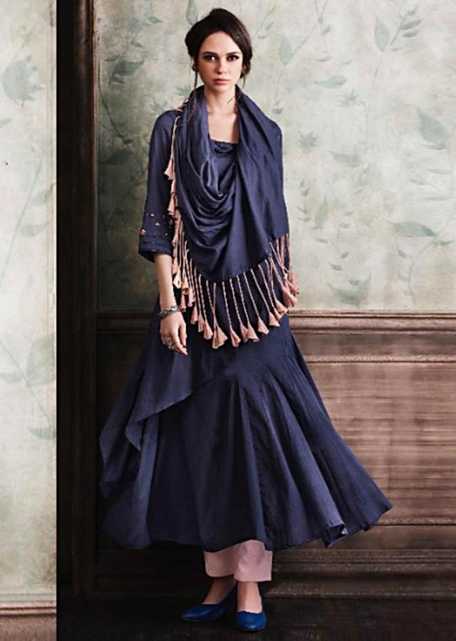 Navy Blue Tunic In Cotton With Attached Cape Online - Kalki Fashion