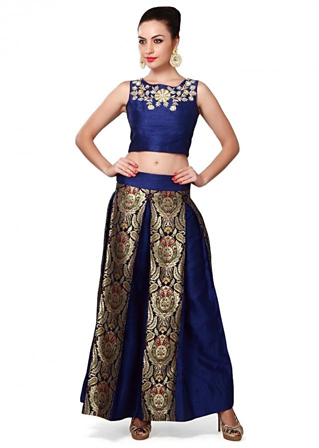 Navy blue crop top and skirt featuring in zardosi embroidery only on Kalki