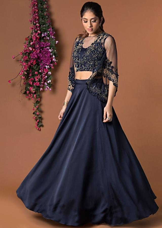 Navy Blue Crop Top With Bell Sleeves And Flared Skirt Online - Kalki Fashion