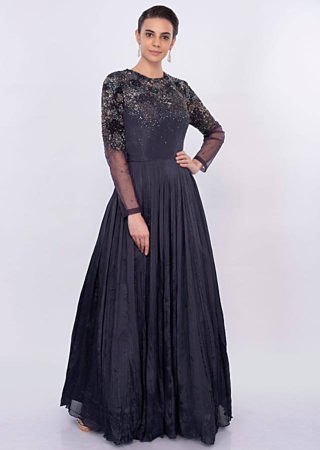 Navy blue crushed chiffon gown with heavy sequins work only on Kalki