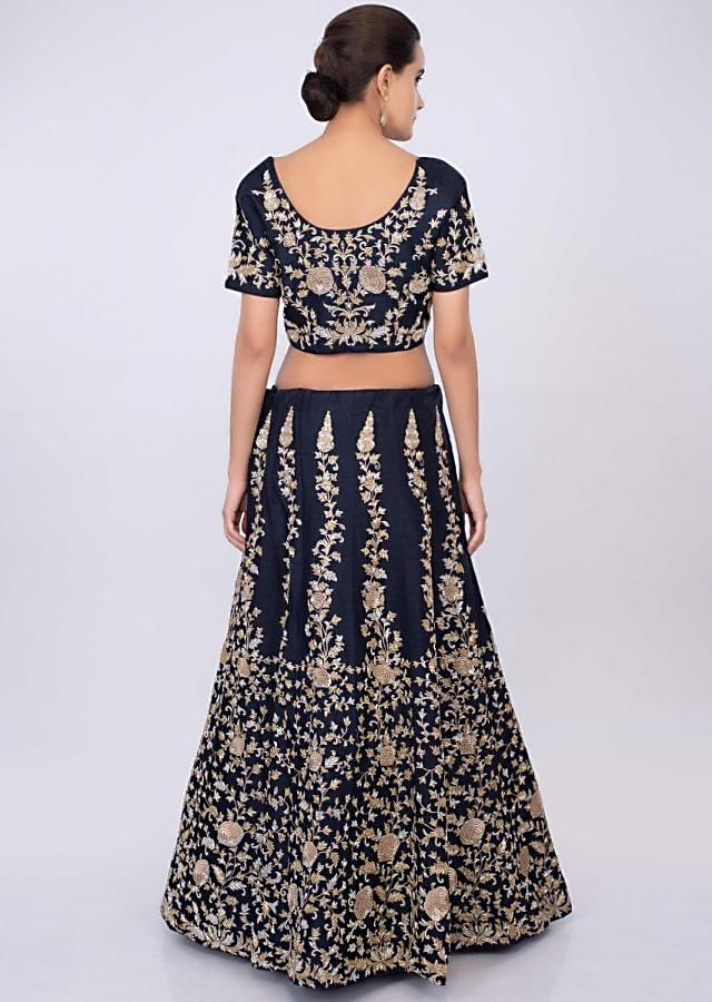Navy Blue Lehenga Set With Cut Dana Embroidery And Pink Net Dupatta Online - Kalki Fashion