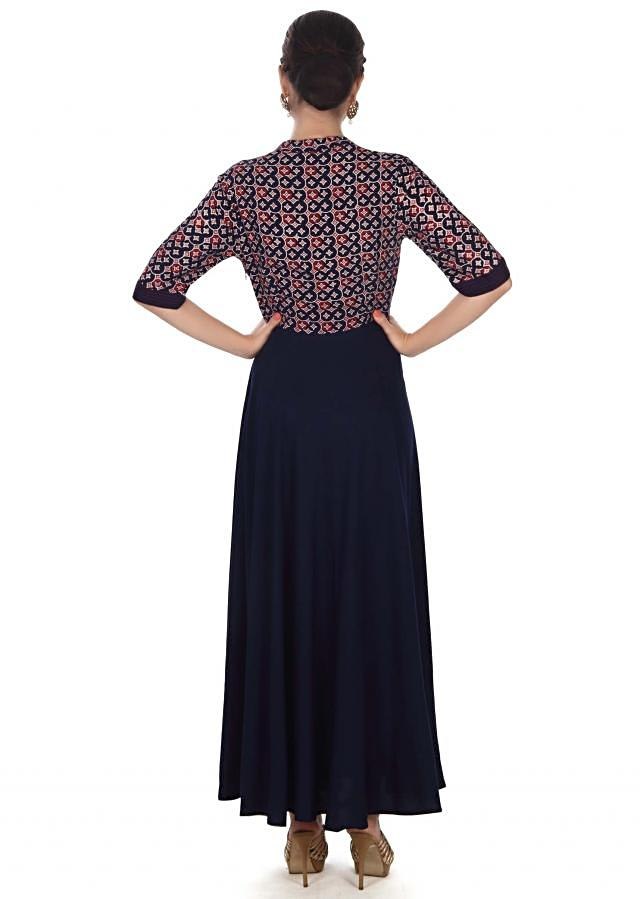 Navy blue dress adorn in print and thread only on Kalki