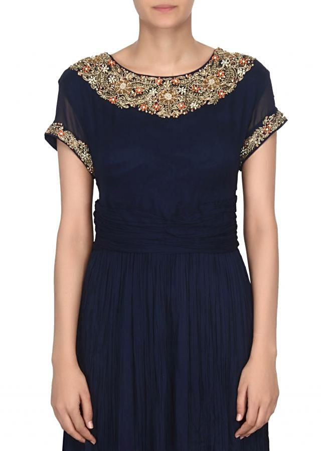 Navy blue dress with zardosi embroidered neckline only on Kalki