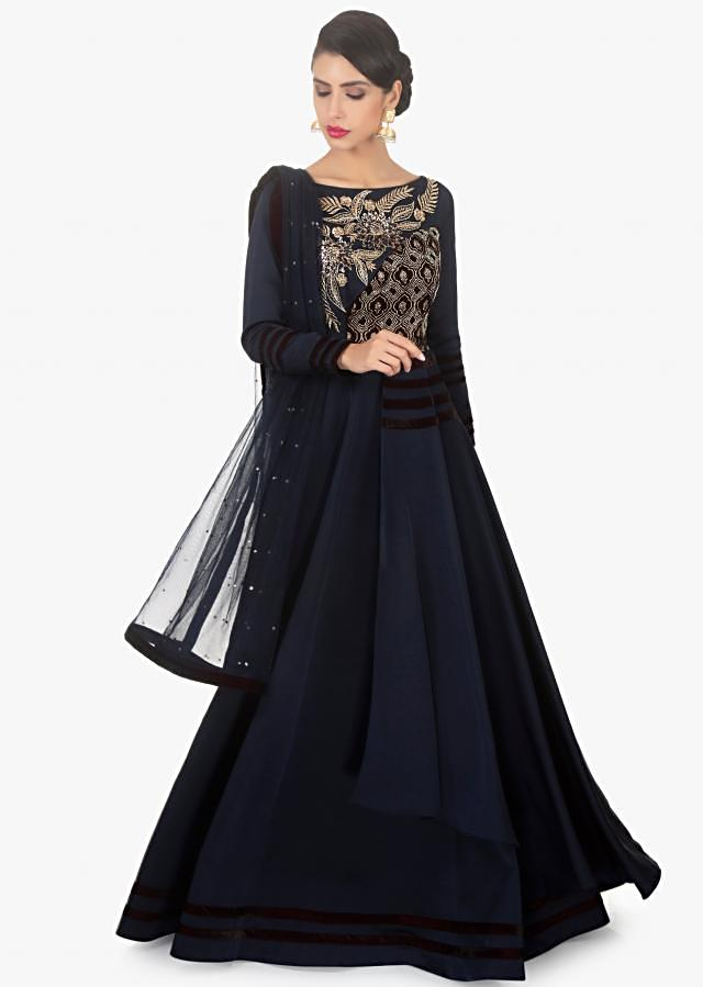 Navy Blue Suit In Dupion Silk And Velvet Paired With A Matching Net Dupatta Online - Kalki Fashion