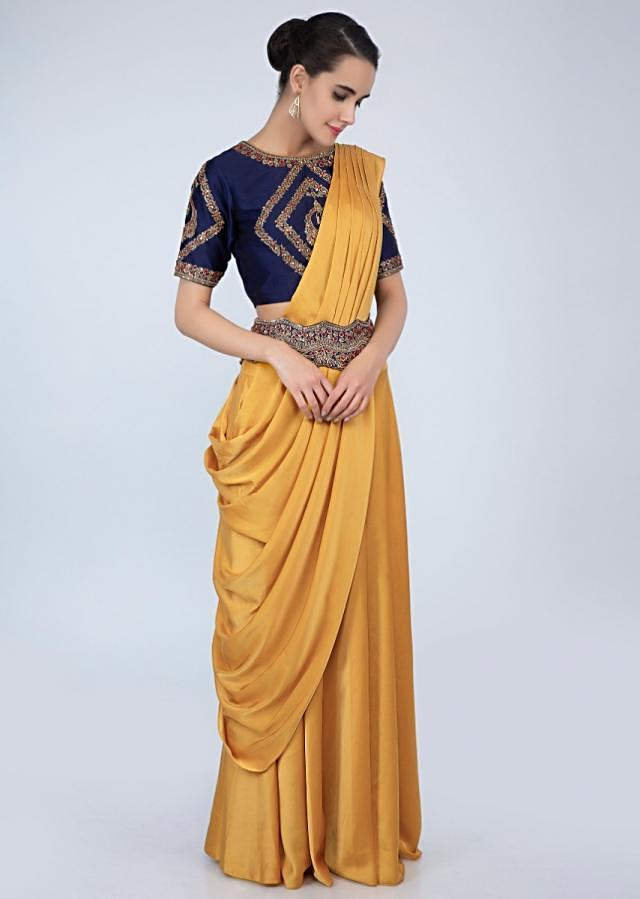Navy Blue Blouse Embroidery Teamed With Mustard Lehenga And Pre- Stitched Ready Pleated Dupatta Online - Kalki Fashion
