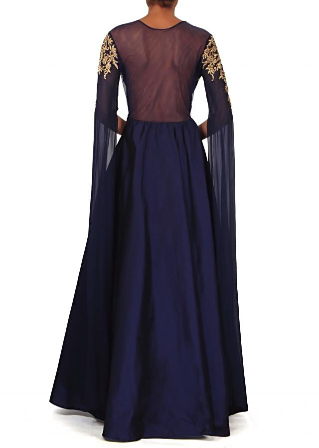 Navy blue embroidered dress with fancy slit sleeve only on Kalki