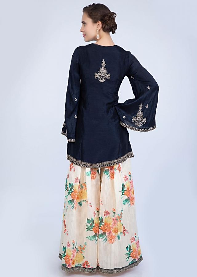 Navy Blue Suit With Embroidery Paired With Cream Floral Printed Palazzo And Contrasting Dupatta With Stripes Online - Kalki Fashion