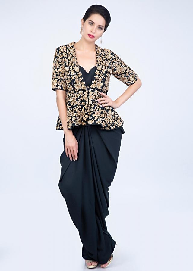 Navy Blue Dhoti And Bustier In Georgette Paired With Peplum Style Heavy Embroidered Jacket Online - Kalki Fashion