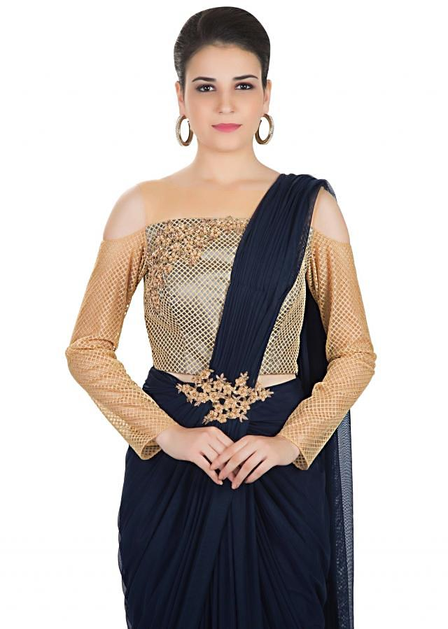 Navy Blue Georgette Net Saree Skirt Adorned with Zardosi Patch Work and Pre-Stitched Pleats only on Kalki