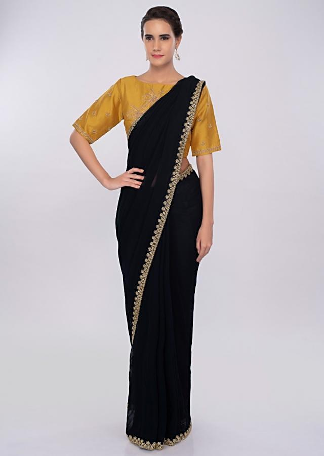 Navy Blue Saree In Georgette With Contrasting Mustard Blouse Online - Kalki Fashion