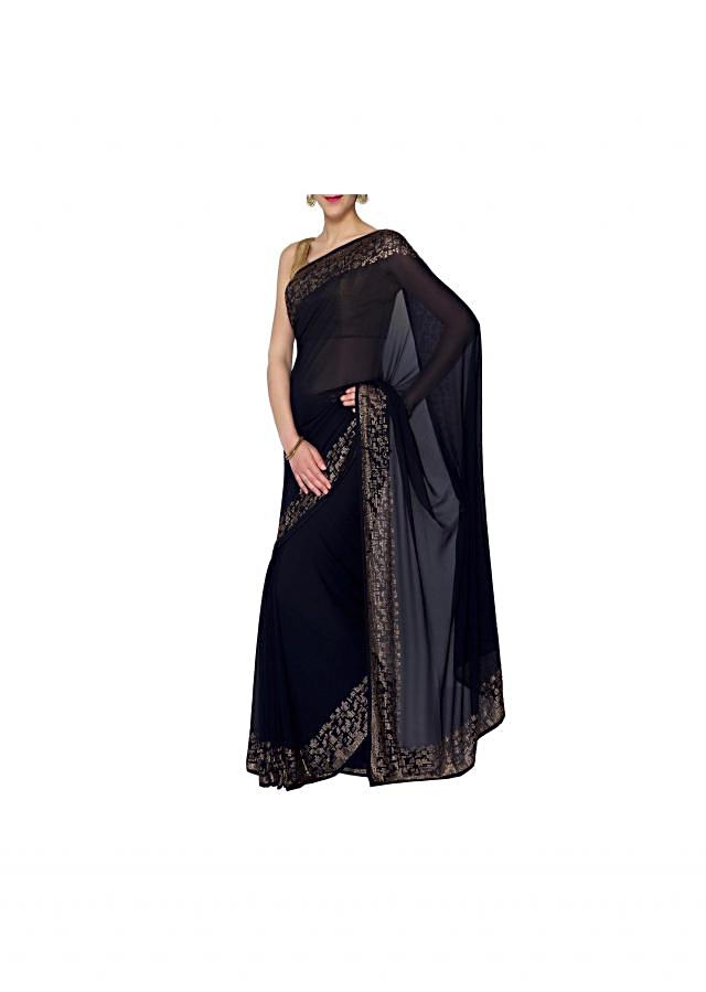 Navy blue georgette saree with kundan only on Kalki