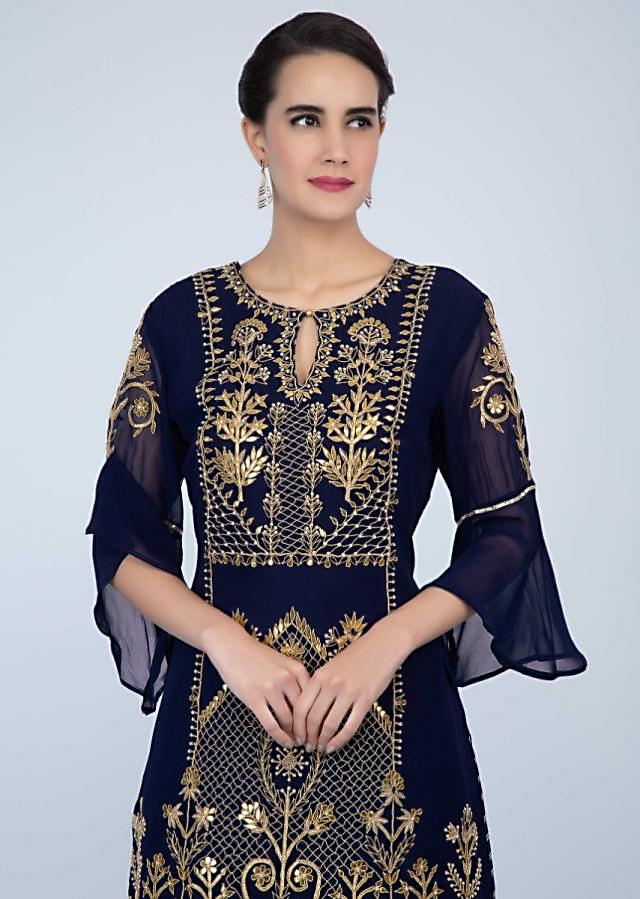 Navy blue georgette sharara suit set with front panel embroidery only on Kalki