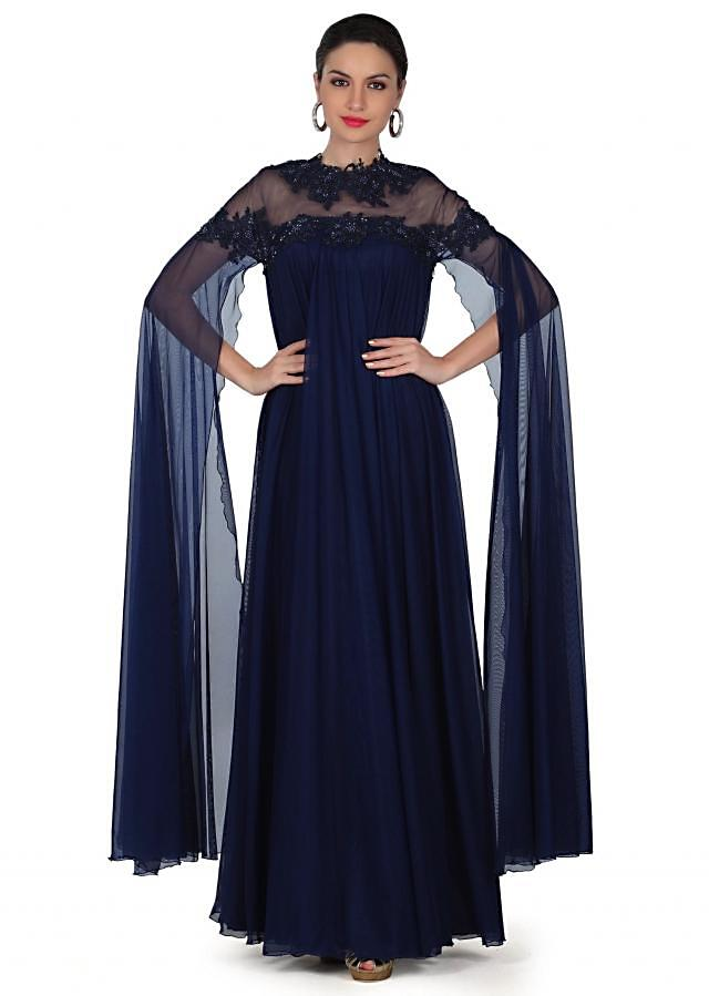 Navy blue gown adorn in attached embroidered cape only on Kalki