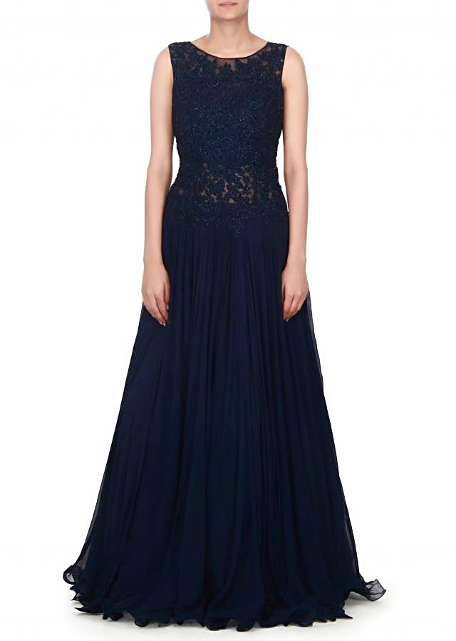 Navy blue gown adorn in resham and kundan bodice only on Kalki