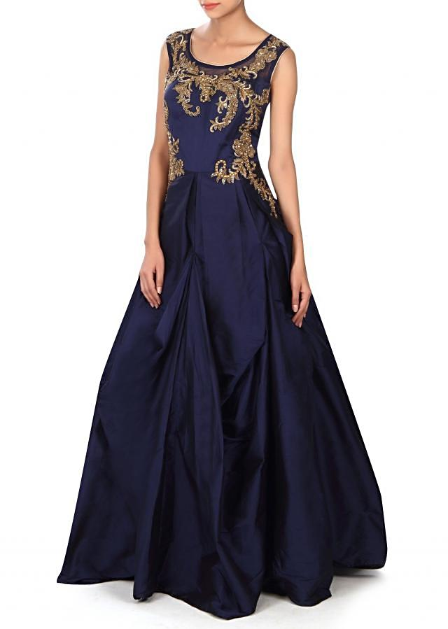 Navy blue gown adorn in zardosi and moti embroidery only on Kalki