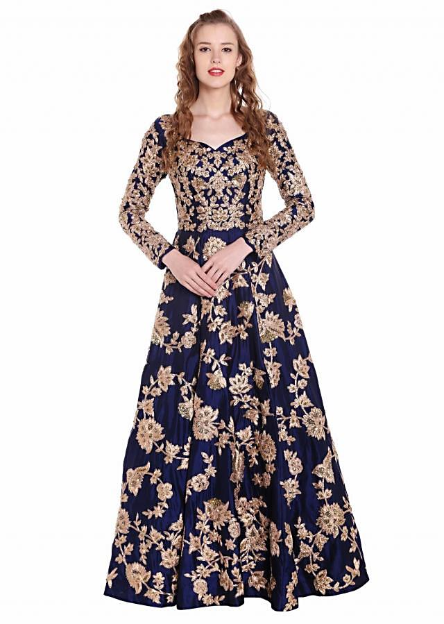 Navy blue gown embellished in flroal jaal motif all over only on Kalki