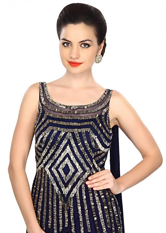 Navy blue gown embellished in kardana embroidery only on Kalki