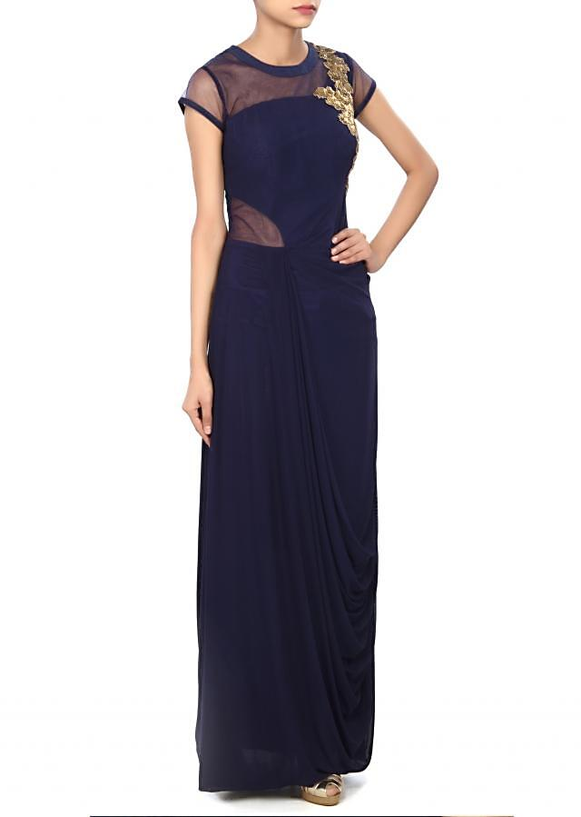 Navy blue gown enhanced in kardana and pleats only on Kalki