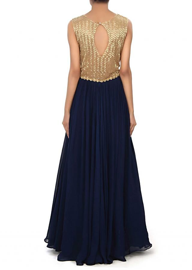 Navy blue gown enhanced in kardana embroidery only on Kalki