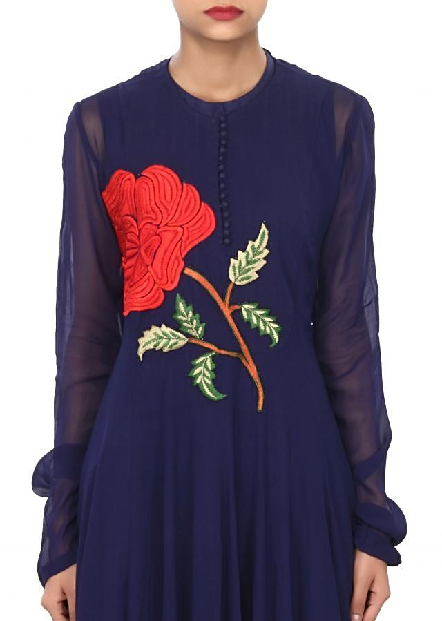Navy blue gown enhanced in rose motif embroidery only on Kalki