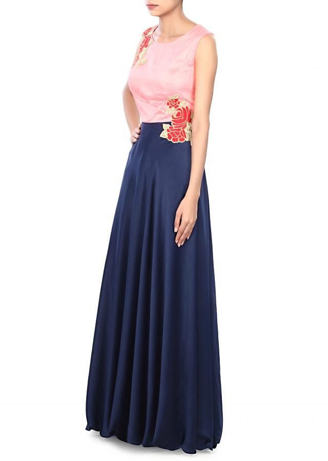 Navy blue gown enhanced in thread and kardana embroidery only on Kalki